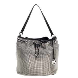 MICHAEL Michael Kors Black Mesh and Leather Frankie Drawstring Shoulder Bag
