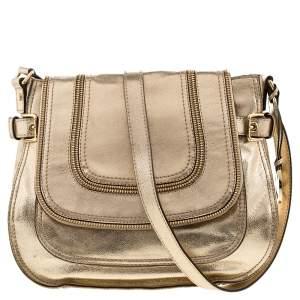 MICHAEL Michael Kors Gold Patent Leather Naomi Flap Shoulder Bag