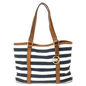 Michael Kors Tri Color Canvas and Leather Striped Tote