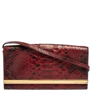 Michael Michael Kors Red Python Embossed Leather Lana Clutch Bag