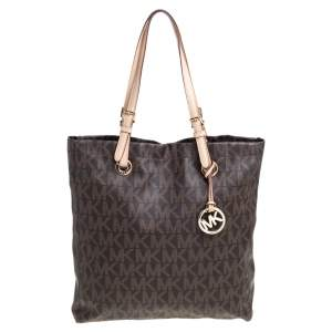 MICHAEL Michael Kors Brown Coated Canvas and Leather Jet Set Tote