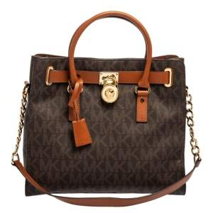 MICHAEL Michael Kors Brown Signature Coated Canvas and Leather Large Hamilton North South Tote
