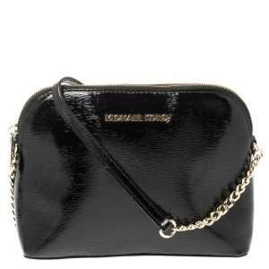 MICHAEL Michael Kors Black Textured Patent Leather Cindy Crossbody Bag