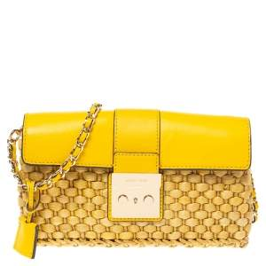 MICHAEL Michael Kors Mustard Woven Straw and Leather Gabriella Shoulder Bag