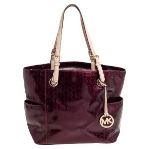 MICHAEL Michael Kors Purple Perforated Signature Patent Leather Middle Zip Tote
