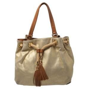 MICHAEL Michael Kors Gold Shimmer Canvas and Leather Tassel Drawstring Shoulder Bag