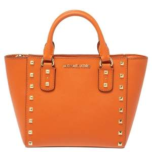 MICHAEL Michael Kors Orange Leather Small Studded Sandrine Crossbody Bag