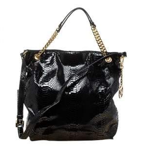 MICHAEL Michael Kors Black Python Effect Patent Leather Chain Shoulder Bag