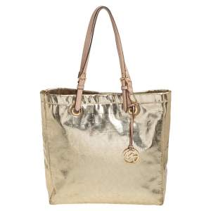 MICHAEL Michael Kors Metallic Gold Mirror Signature PVC and Leather North South Jet Set Tote