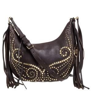 MICHAEL Michael Kors Brown Leather Studded Rhea Crossbody Bag