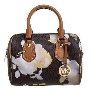 حقيبة ساتشل مايكل مايكل كورس أريا صغيرة جلد وكانفاس مقوى زهور شهيرة بنية