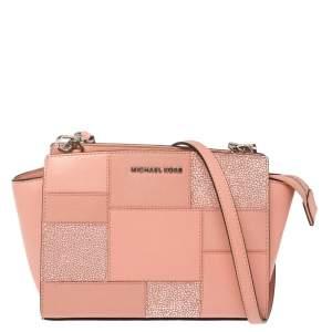MICHAEL Michael Kors Pink  Patchwork Leather Selma Shoulder Bag