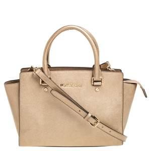 حقيبة ساتشل مايكل مايكل كورس سلما متوسطة جلد ذهبية ميتالك
