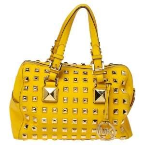 """حقيبة مايكل مايكل كورس """"غرايسون"""" مرصعة جلد صفراء"""