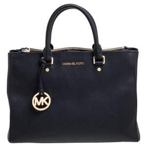 حقيبة مايكل مايكل كورس جيت سيت جلد أسود بسحاب مزدوج