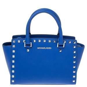 حقيبة يد مايكل كورس مرصعة سلما جلد أزرق