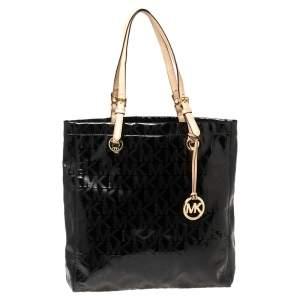 """حقيبة يد مايكل مايكل كورس """"نورث ساوث جيت سيت"""" جلد و بلاستيك مشمع لامع مطبوع شعار الماركة ذهبي ميتاليك"""