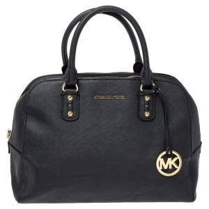 MICHAEL Michael Kors Black Leather Zip Satchel