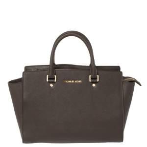 MICHAEL Michael Kors Dark Brown Leather Large Selma Satchel