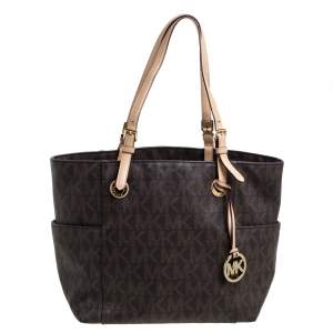 MICHAEL Michael Kors Brown Signature Coated Canvas and Leather Jet Set Tote