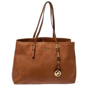 MICHAEL Michael Kors Brown Saffiano Leather Medium Jet Set Tote