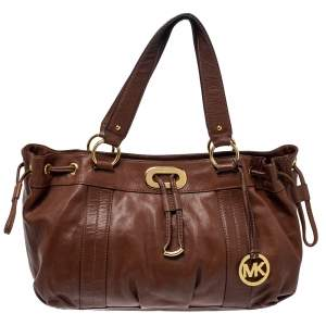 MICHAEL Michael Kors Brown Leather Drawstring Tote