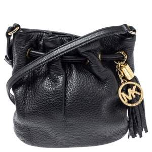 MICHAEL Michael Kors Black Leather Jules Drawstring Crossbody Bag
