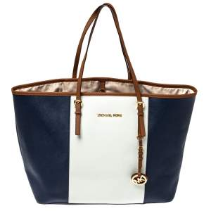 MICHAEL Michael Kors Blue/White Saffiano Leather Large Jet Set Travel Tote