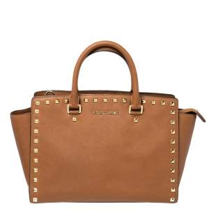 MICHAEL Michael Kors Brown Leather Selma Studded Tote
