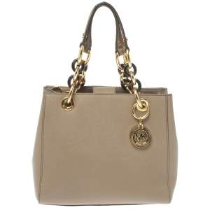 MICHAEL Michael Kors Beige Leather Small Cynthia Tote