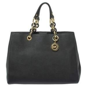MICHAEL Michael Kors Black Leather Large Cynthia Tote