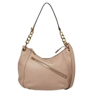 MICHAEL Michael Kors Beige Grained Leather Shoulder Bag