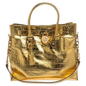 MICHAEL Michael Kors Gold Croc Embossed Patent Leather Large Hamilton North South Tote