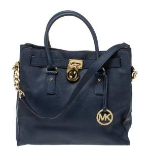 MICHAEL Michael Kors Navy Blue Leather Large Hamilton North South Tote