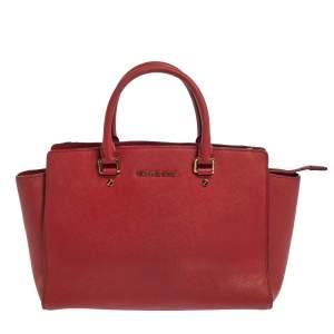 Michael Kors Red Leather Medium Selma Tote