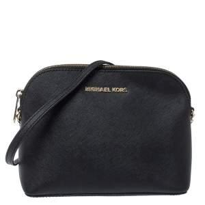 MICHAEL Michael Kors Black Leather Medium Cindy Dome Crossbody Bag