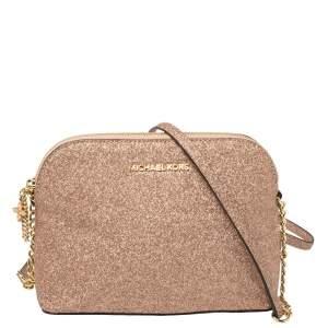 MICHAEL Michael Kors Rose Gold Glitter Medium Cindy Dome Crossbody Bag