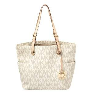 MICHAEL Michael Kors White Signature Coated Canvas and Leather Jet Set East West Tote