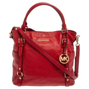 MICHAEL Michael Kors Red Soft Leather Buckle Strap Tote