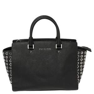 Michael Michael Kors Black Leather Large Selma Eyelet Satchel