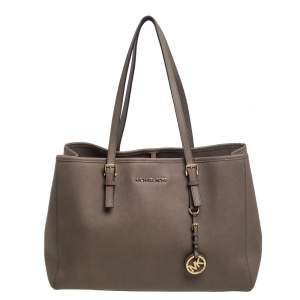 MICHAEL Michael Kors Dark Beige Leather Travel East West Tote