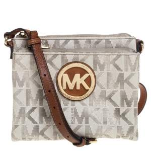 MICHAEL Michael Kors Off White/Tan Coated Canvas and Leather Fulton Crossbody Bag