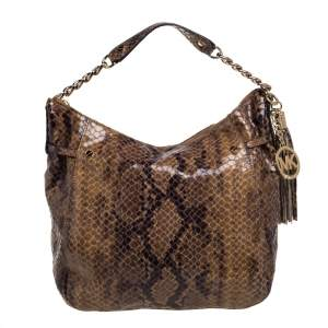 MICHAEL Michael Kors Brown Python Embossed Leather Hobo