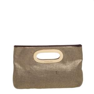 MICHAEL Michael Kors Gold Raffia Berkley Clutch