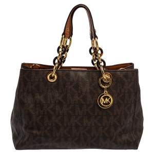 MICHAEL Michael Kors Brown Signature Coated Canvas Medium Cynthia Satchel