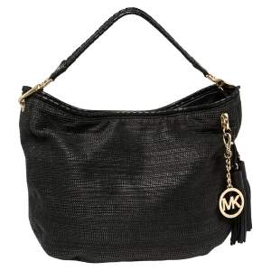 MICHAEL Michael Kors Black Straw And Leather Bennet Hobo