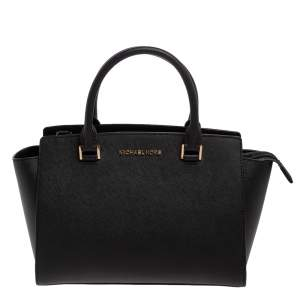 Michael Michael Kors Black Leather Medium Selma Satchel