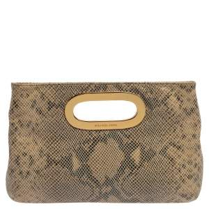 MICHAEL Michael Kors Beige/Black Snakeskin Effect Leather Berkley Clutch