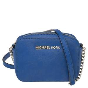 MICHAEL Michael Kors Blue Leather Small Jet Set Crossbody Bag
