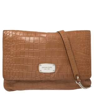 MICHAEL Michael Kors Brown Croc Embossed Leather Sloan Shoulder Bag